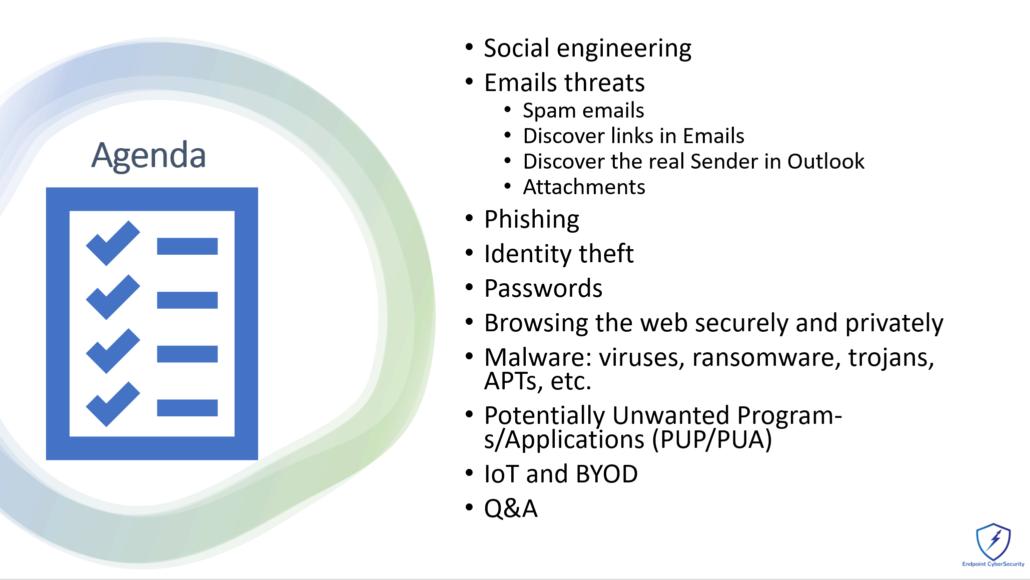 Agenda Cybersecurity Awareness Training